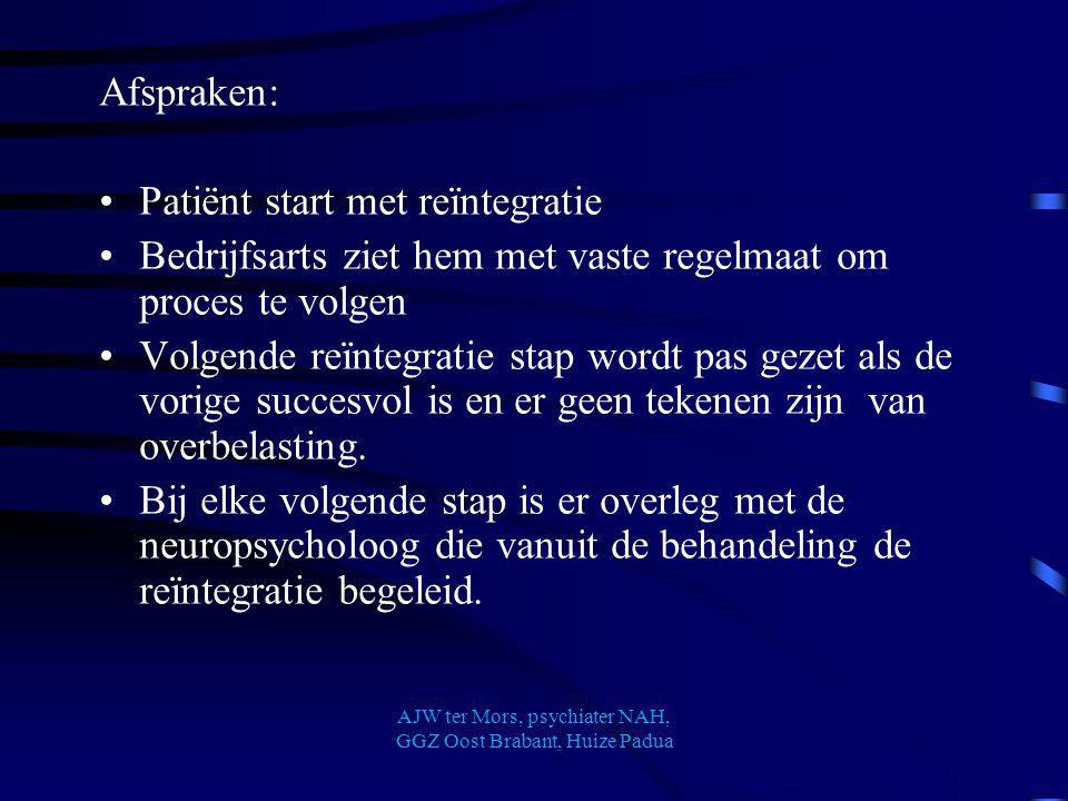Afspraken: Patiënt start met reïntegratie Bedrijfsarts ziet hem met vaste regelmaat om proces te volgen Volgende reïntegratie stap wordt pas gezet als
