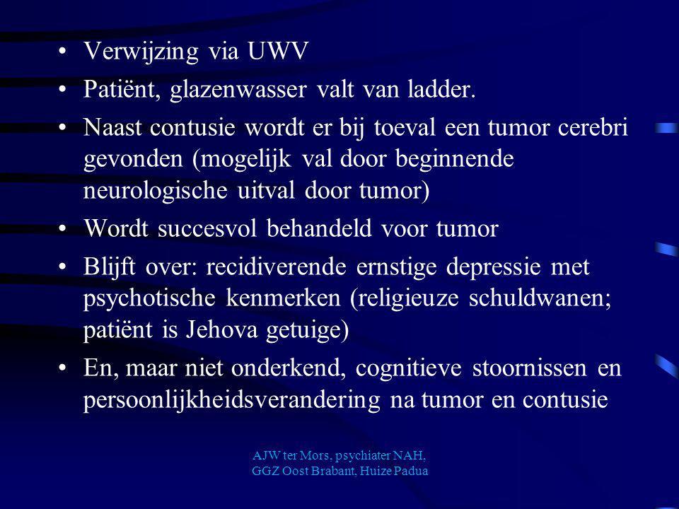 Verwijzing via UWV Patiënt, glazenwasser valt van ladder. Naast contusie wordt er bij toeval een tumor cerebri gevonden (mogelijk val door beginnende