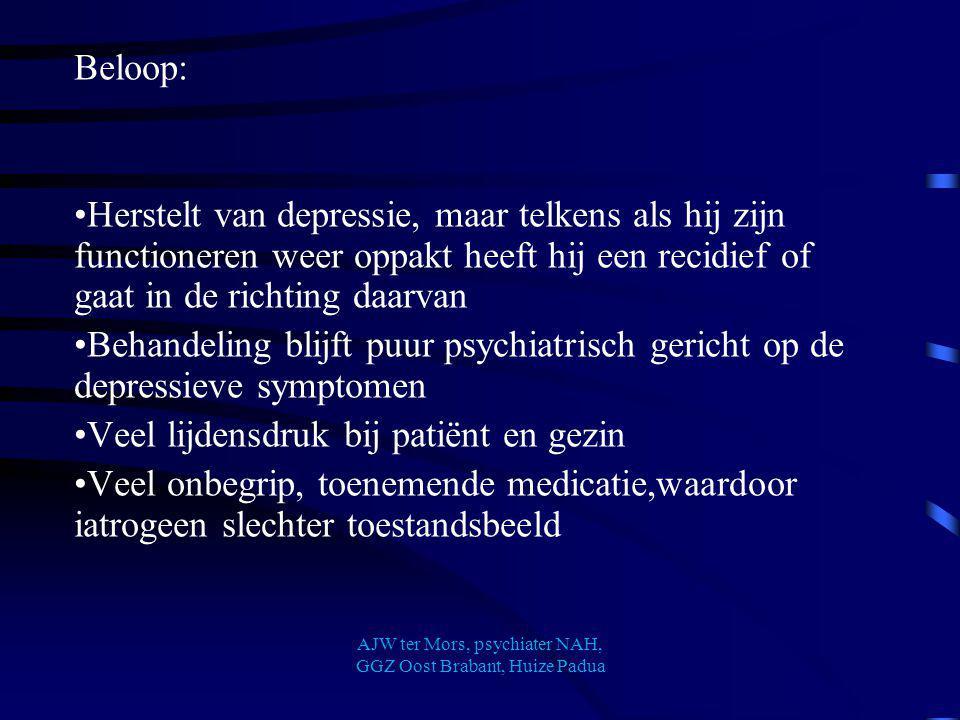 Beloop: Herstelt van depressie, maar telkens als hij zijn functioneren weer oppakt heeft hij een recidief of gaat in de richting daarvan Behandeling b