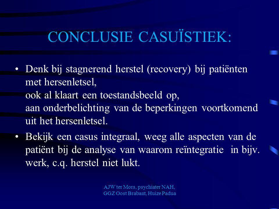 CONCLUSIE CASUÏSTIEK: Denk bij stagnerend herstel (recovery) bij patiënten met hersenletsel, ook al klaart een toestandsbeeld op, aan onderbelichting