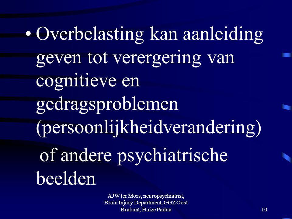 Overbelasting kan aanleiding geven tot verergering van cognitieve en gedragsproblemen (persoonlijkheidverandering) of andere psychiatrische beelden AJ