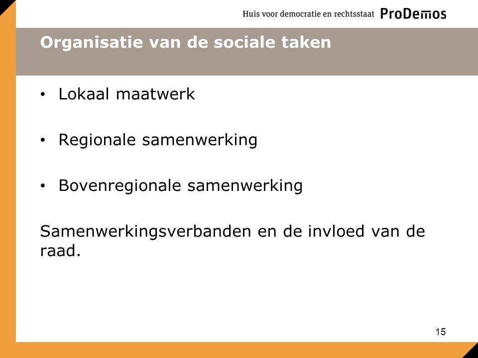 Organisatie van de sociale taken Lokaal maatwerk Regionale samenwerking Bovenregionale samenwerking Samenwerkingsverbanden en de invloed van de raad.