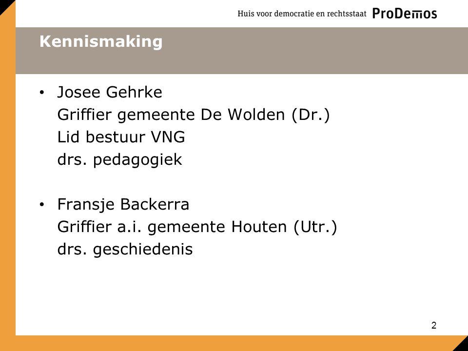 Kennismaking Josee Gehrke Griffier gemeente De Wolden (Dr.) Lid bestuur VNG drs.