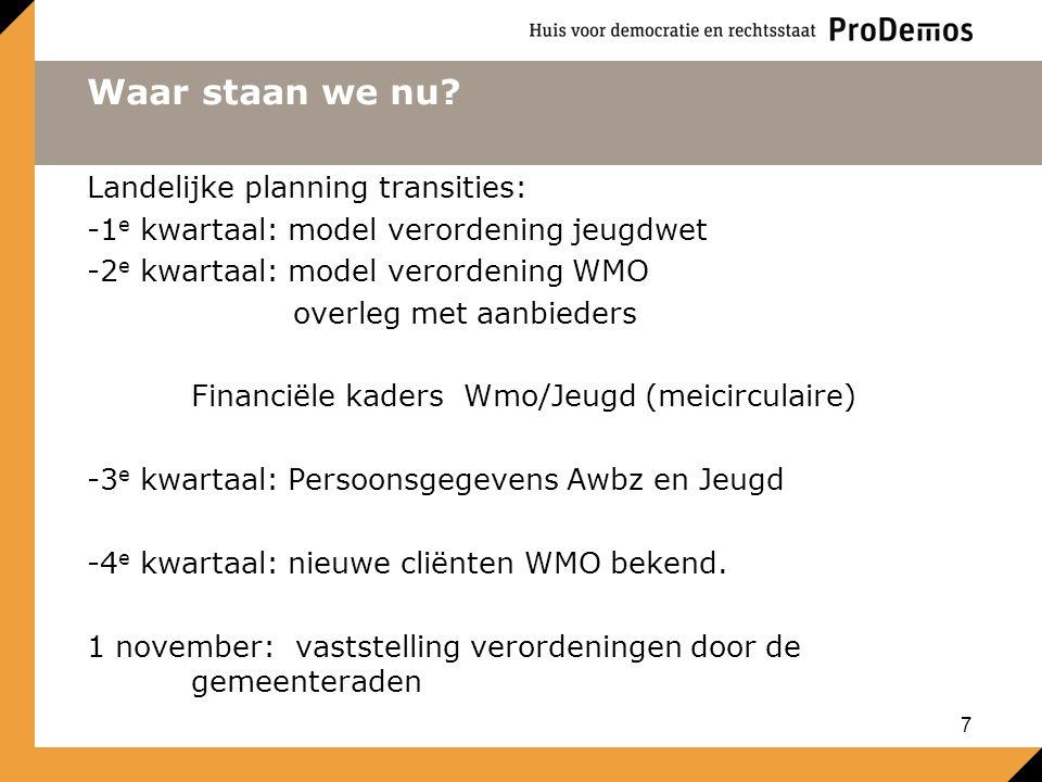 Waar staan we nu? Landelijke planning transities: -1 e kwartaal: model verordening jeugdwet -2 e kwartaal: model verordening WMO overleg met aanbieder