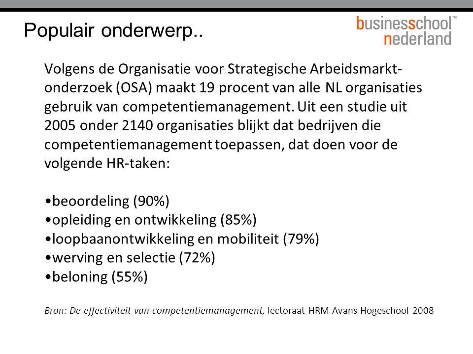 Populair onderwerp.. Volgens de Organisatie voor Strategische Arbeidsmarkt- onderzoek (OSA) maakt 19 procent van alle NL organisaties gebruik van comp