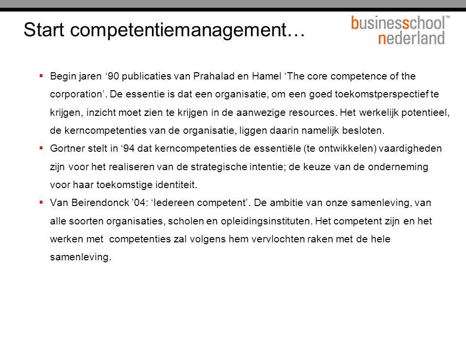 Start competentiemanagement…  Begin jaren '90 publicaties van Prahalad en Hamel 'The core competence of the corporation'. De essentie is dat een orga