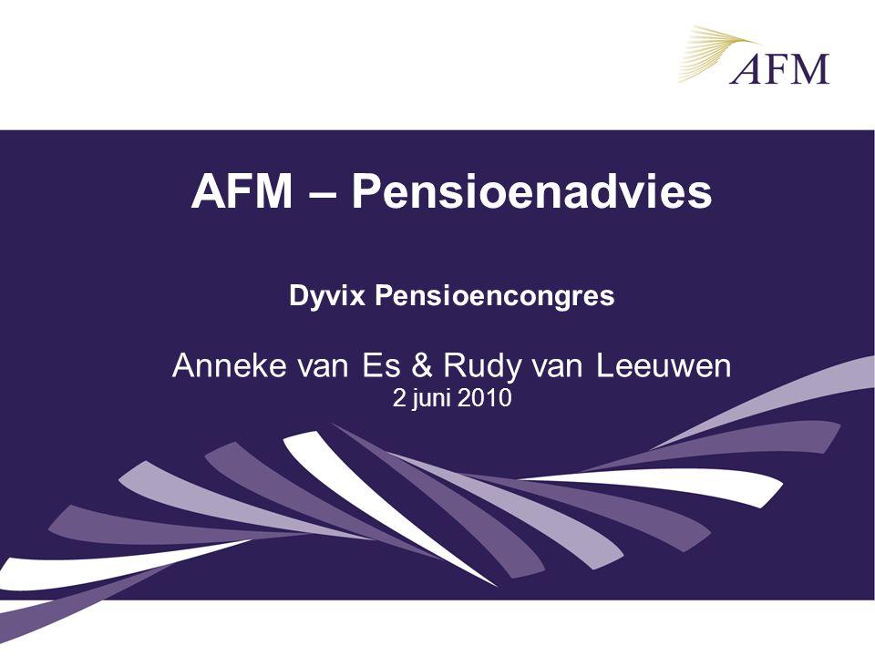 AFM – Pensioenadvies Dyvix Pensioencongres Anneke van Es & Rudy van Leeuwen 2 juni 2010