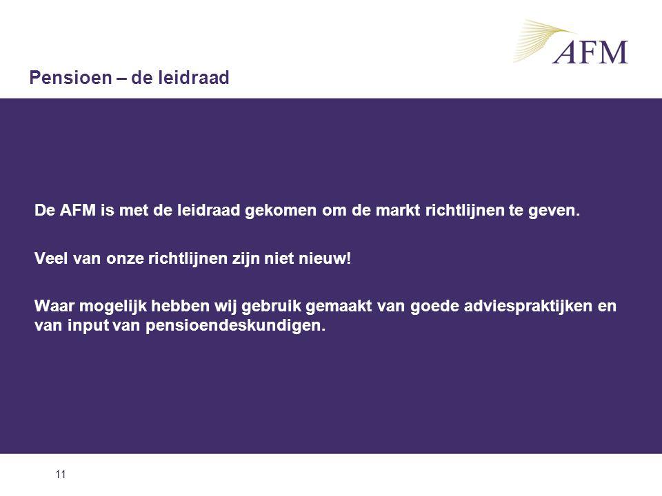 11 De AFM is met de leidraad gekomen om de markt richtlijnen te geven. Veel van onze richtlijnen zijn niet nieuw! Waar mogelijk hebben wij gebruik gem