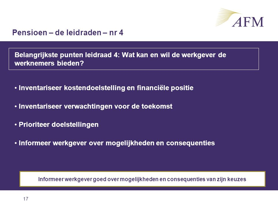 17 Belangrijkste punten leidraad 4: Wat kan en wil de werkgever de werknemers bieden? Inventariseer kostendoelstelling en financiële positie Inventari