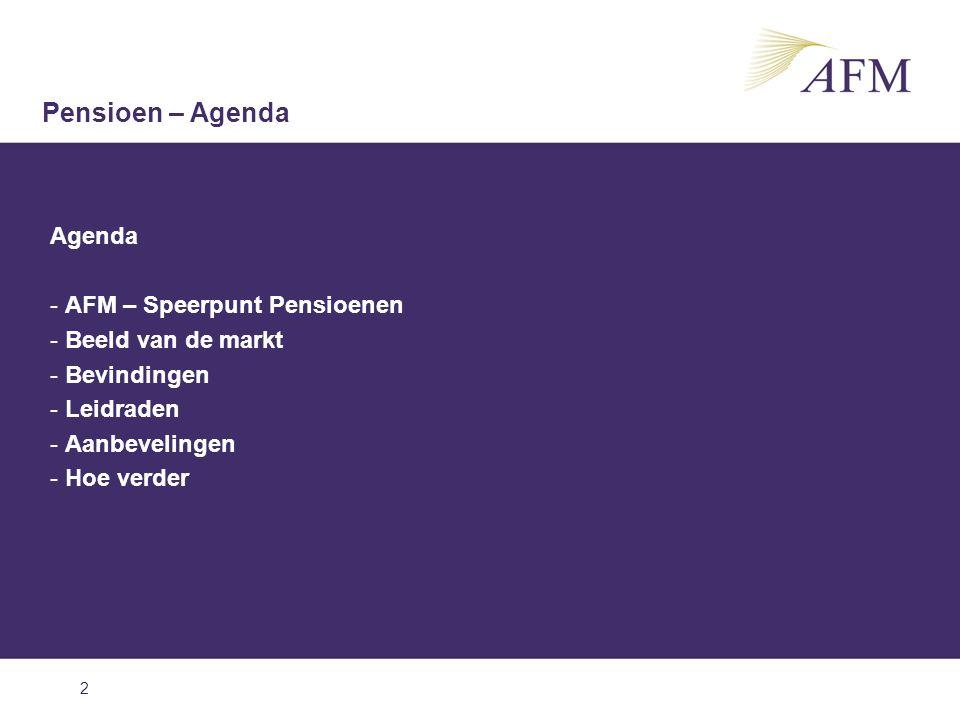 2 Agenda - AFM – Speerpunt Pensioenen - Beeld van de markt - Bevindingen - Leidraden - Aanbevelingen - Hoe verder Pensioen – Agenda
