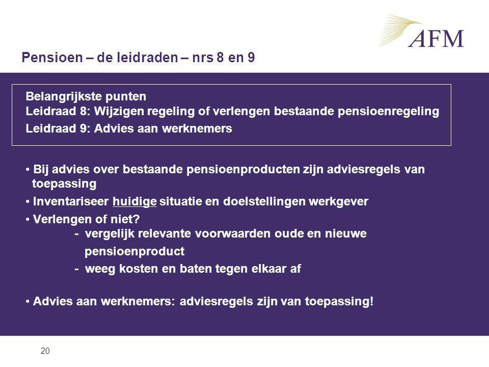 20 Belangrijkste punten Leidraad 8: Wijzigen regeling of verlengen bestaande pensioenregeling Leidraad 9: Advies aan werknemers Bij advies over bestaa