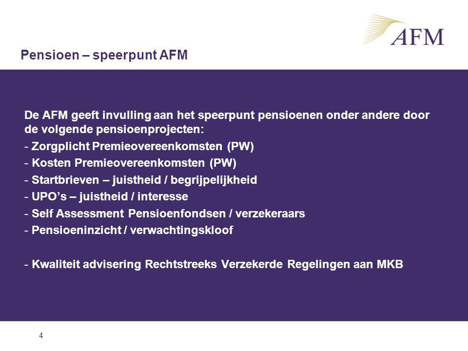 4 De AFM geeft invulling aan het speerpunt pensioenen onder andere door de volgende pensioenprojecten: - Zorgplicht Premieovereenkomsten (PW) - Kosten