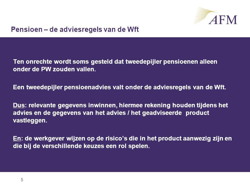 6 Het project pensioenadvisering Pensioen – project pensioenadvisering Onderzoeken Analyse marktgegevens Communicatie/ Guidance Onderzoeken - Kwaliteit pensioenadviezen inzichtelijk krijgen - Verhogen bewustzijn - Bijdragen verhoging kwaliteit - Beeld van de markt krijgen