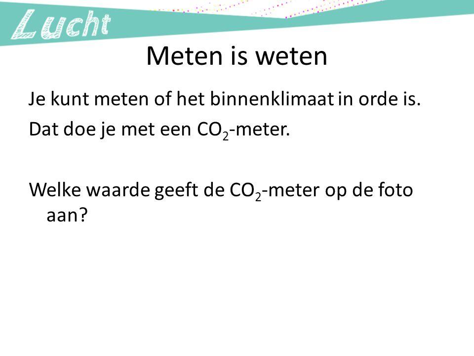 Meten is weten Je kunt meten of het binnenklimaat in orde is. Dat doe je met een CO 2 -meter. Welke waarde geeft de CO 2 -meter op de foto aan?