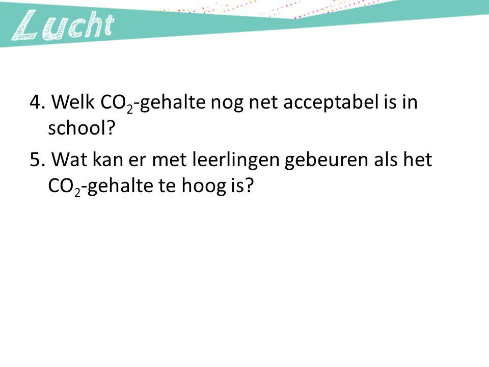 4. Welk CO 2 -gehalte nog net acceptabel is in school? 5. Wat kan er met leerlingen gebeuren als het CO 2 -gehalte te hoog is?