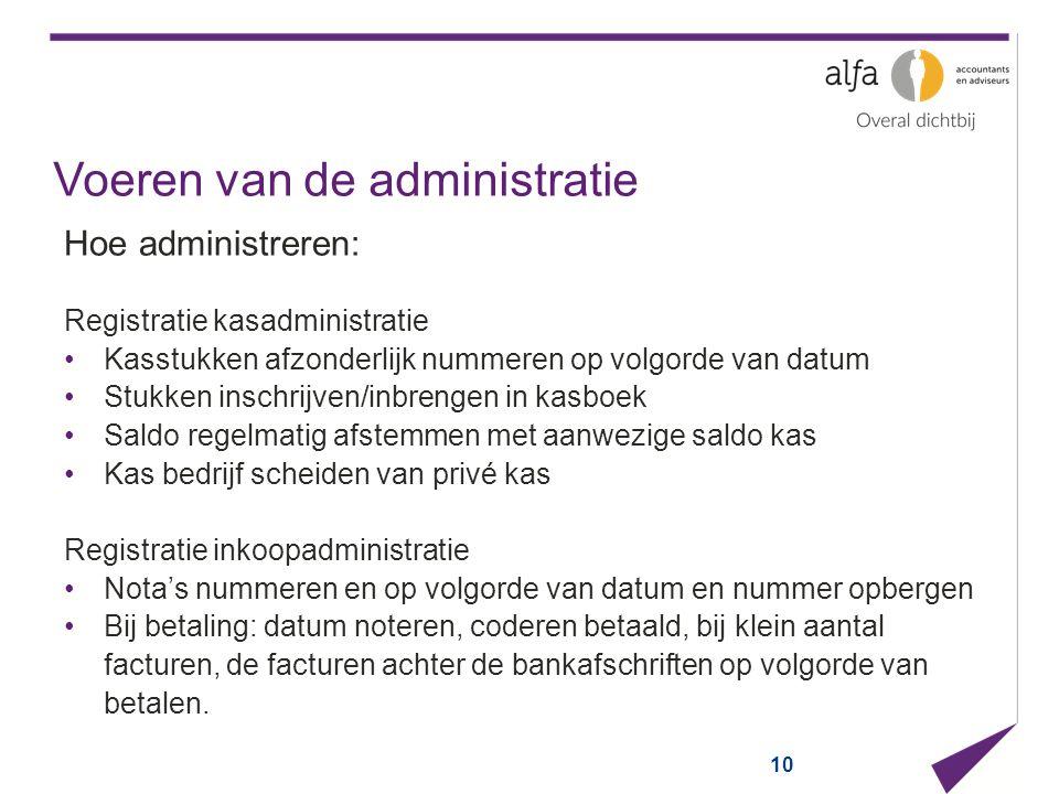 Voeren van de administratie Hoe administreren: Registratie kasadministratie Kasstukken afzonderlijk nummeren op volgorde van datum Stukken inschrijven