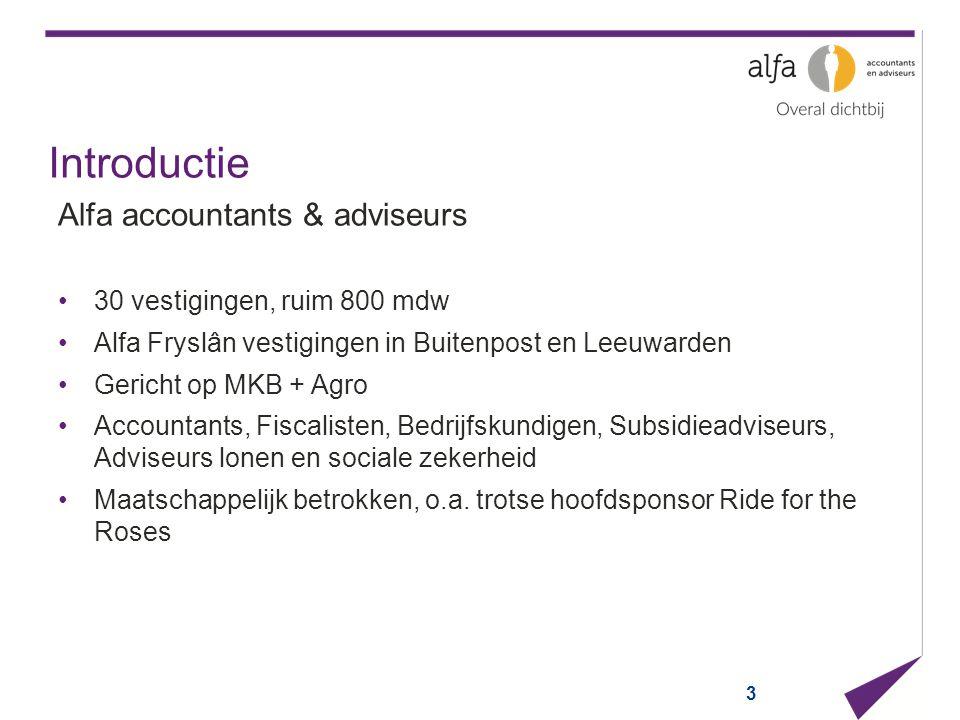 Introductie Alfa accountants & adviseurs 30 vestigingen, ruim 800 mdw Alfa Fryslân vestigingen in Buitenpost en Leeuwarden Gericht op MKB + Agro Accou