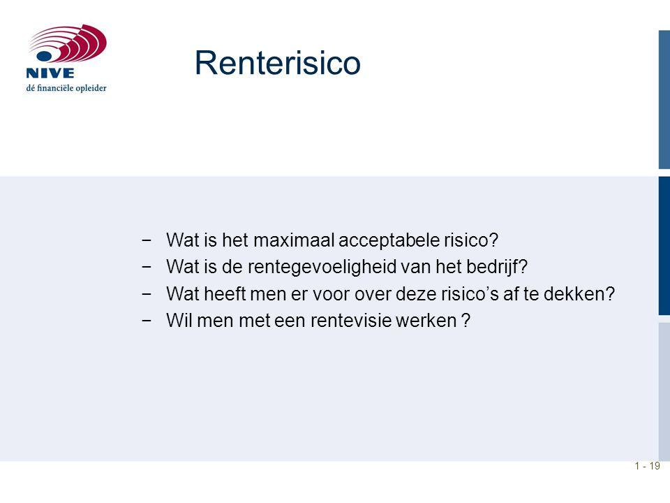 1 - 19 Renterisico −Wat is het maximaal acceptabele risico? −Wat is de rentegevoeligheid van het bedrijf? −Wat heeft men er voor over deze risico's af