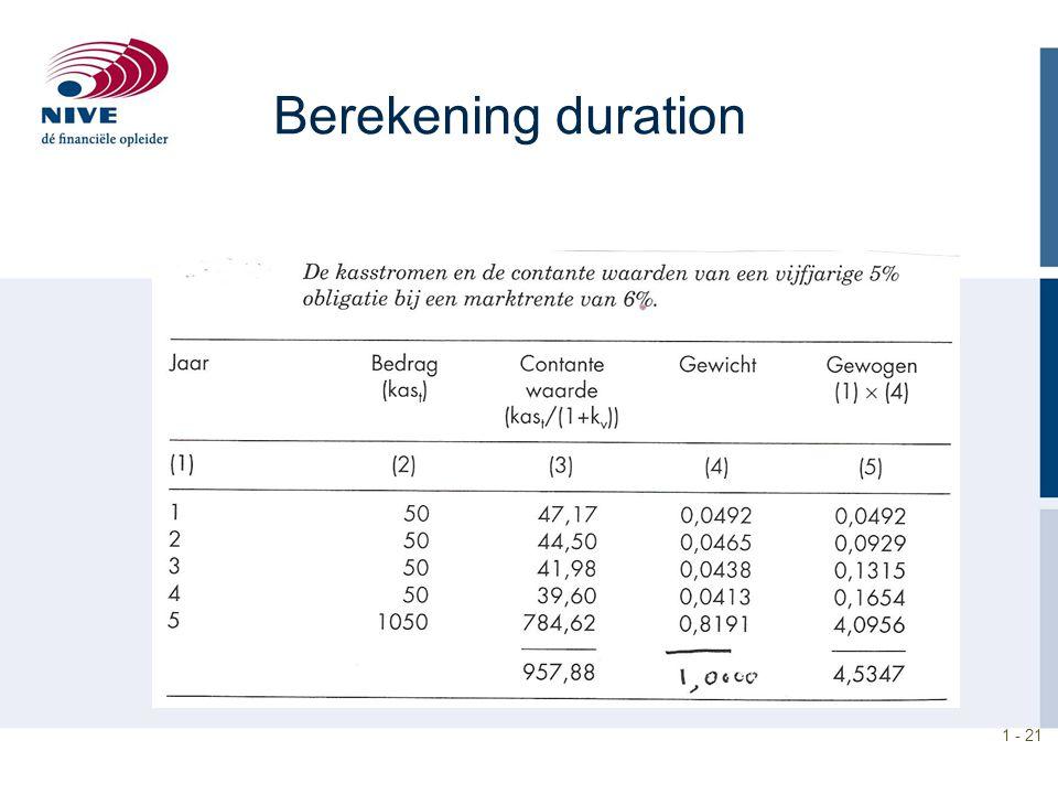 1 - 21 Berekening duration