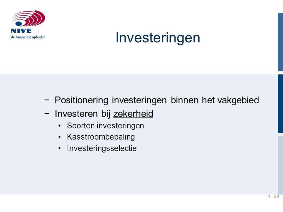 1 - 30 Investeringen −Positionering investeringen binnen het vakgebied −Investeren bij zekerheid Soorten investeringen Kasstroombepaling Investeringss