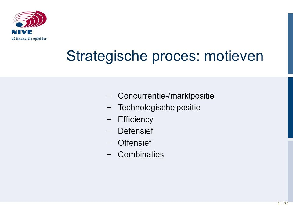 1 - 31 Strategische proces: motieven −Concurrentie-/marktpositie −Technologische positie −Efficiency −Defensief −Offensief −Combinaties