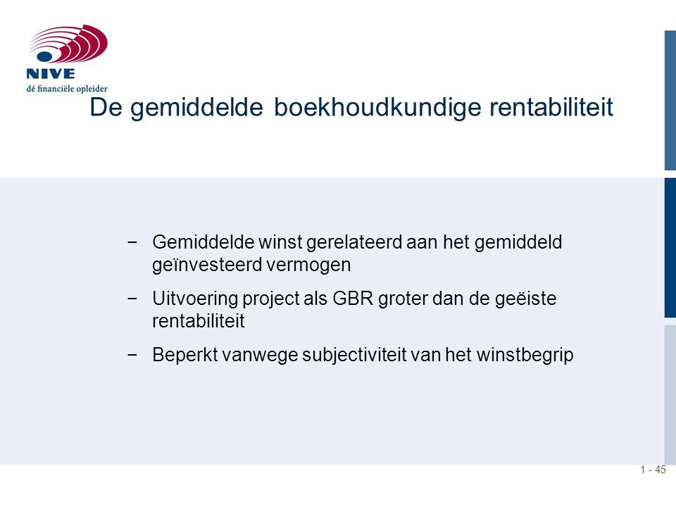 1 - 45 De gemiddelde boekhoudkundige rentabiliteit −Gemiddelde winst gerelateerd aan het gemiddeld geïnvesteerd vermogen −Uitvoering project als GBR g