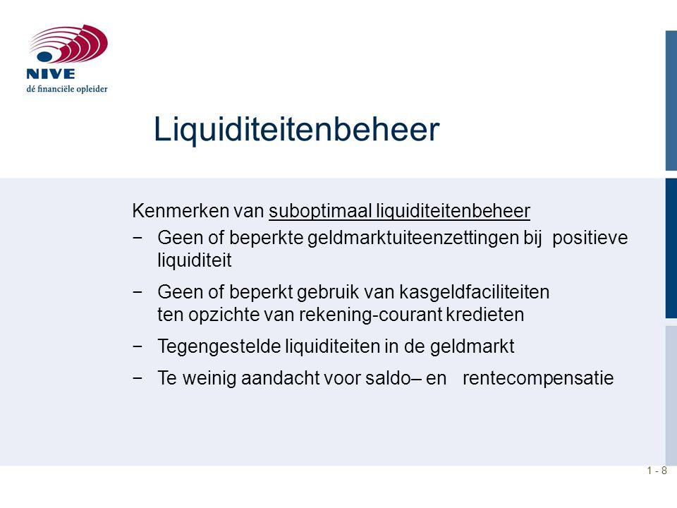 1 - 9 Liquiditeitenbeheer −Kasvoorraden aanhouden wegens: Transactiemotief Voorzorg motief Speculatiemotief −De liquiditeitsprognose vormt de basis voor het schatten van de toekomstige liquiditeitenbehoefte of het toekomstig liquiditeitenoverschot