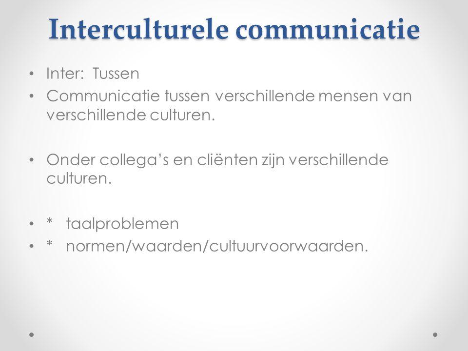 Inter: Tussen Communicatie tussen verschillende mensen van verschillende culturen. Onder collega's en cliënten zijn verschillende culturen. * taalprob