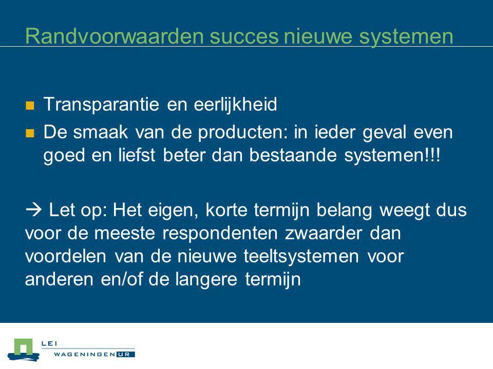 Randvoorwaarden succes nieuwe systemen Transparantie en eerlijkheid De smaak van de producten: in ieder geval even goed en liefst beter dan bestaande