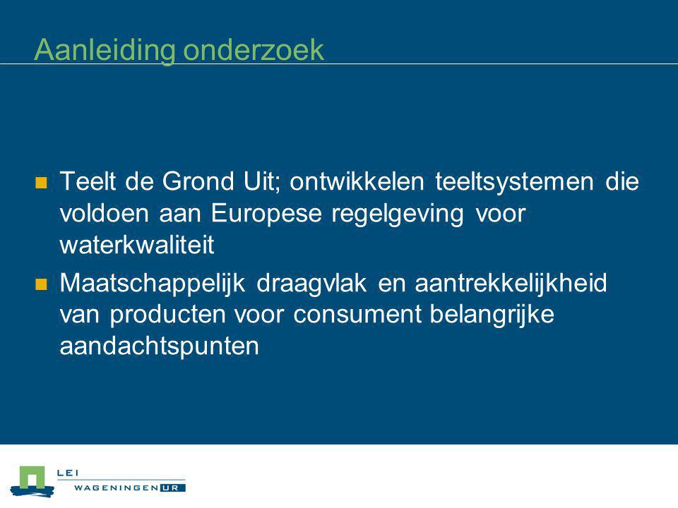 Aanleiding onderzoek Teelt de Grond Uit; ontwikkelen teeltsystemen die voldoen aan Europese regelgeving voor waterkwaliteit Maatschappelijk draagvlak