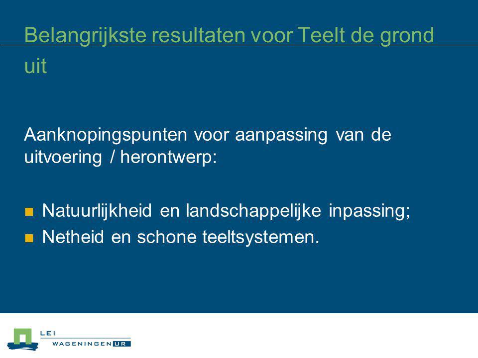Belangrijkste resultaten voor Teelt de grond uit Aanknopingspunten voor aanpassing van de uitvoering / herontwerp: Natuurlijkheid en landschappelijke