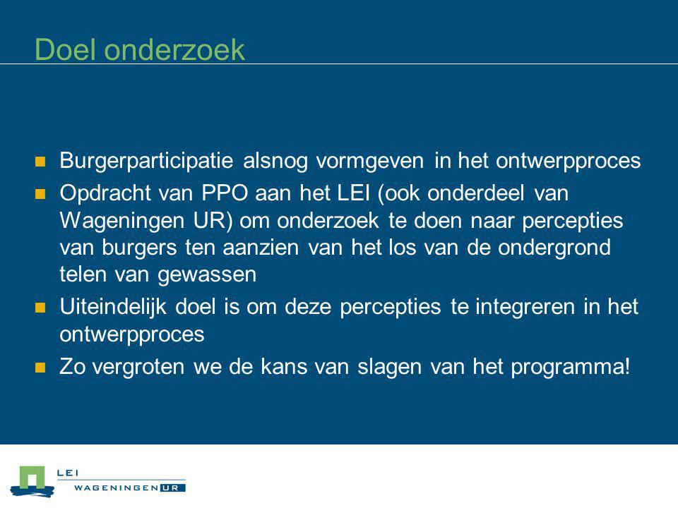 Doel onderzoek Burgerparticipatie alsnog vormgeven in het ontwerpproces Opdracht van PPO aan het LEI (ook onderdeel van Wageningen UR) om onderzoek te