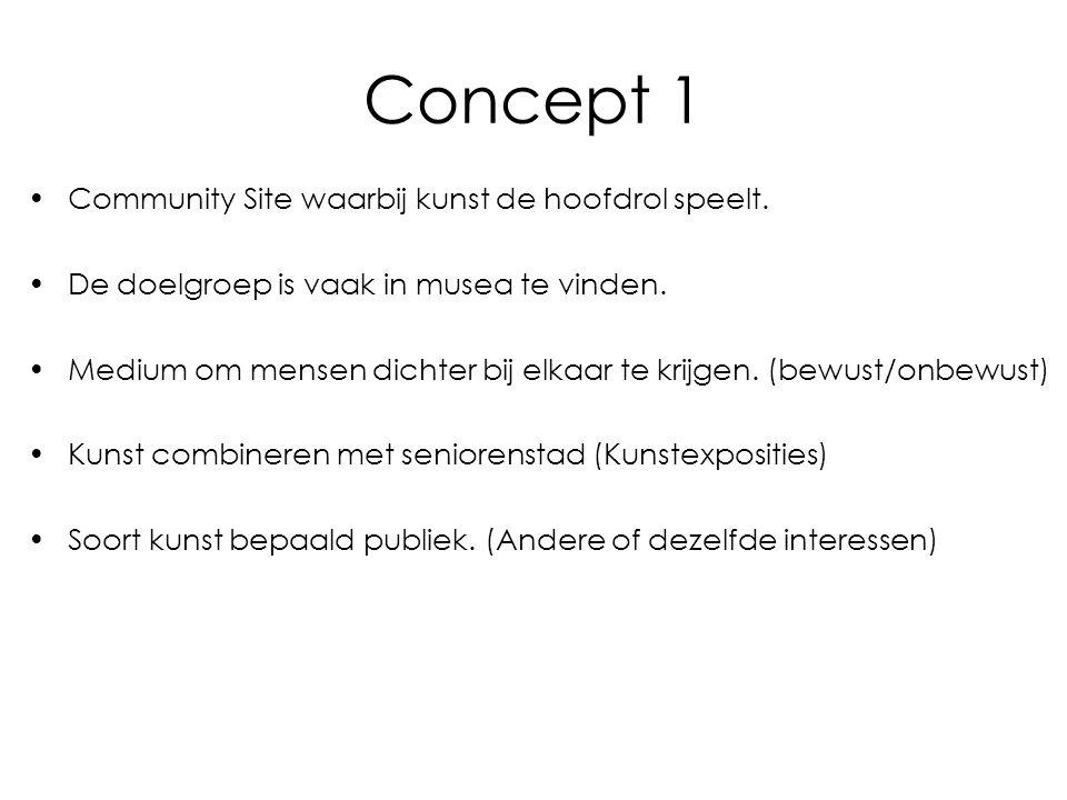 Concept 1 Community Site waarbij kunst de hoofdrol speelt. De doelgroep is vaak in musea te vinden. Medium om mensen dichter bij elkaar te krijgen. (b