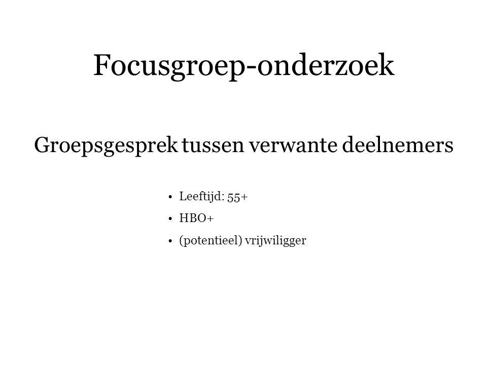 Focusgroep-onderzoek Groepsgesprek tussen verwante deelnemers Leeftijd: 55+ HBO+ (potentieel) vrijwiligger