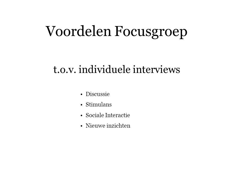 Voordelen Focusgroep t.o.v.