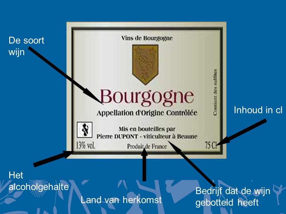 De soort wijn Het alcoholgehalte Land van herkomst Bedrijf dat de wijn gebotteld heeft Inhoud in cl