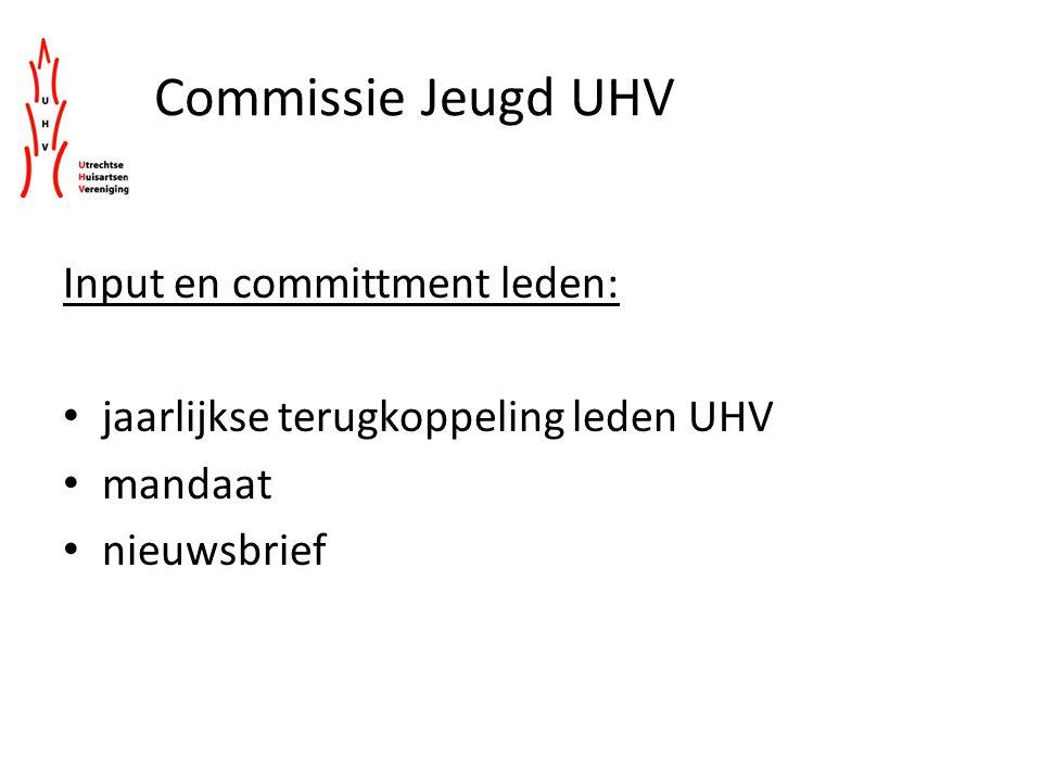 Commissie Jeugd UHV Input en committment leden: jaarlijkse terugkoppeling leden UHV mandaat nieuwsbrief