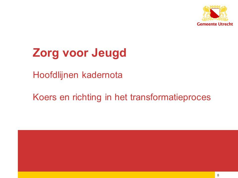 12/01/2015 8 Zorg voor Jeugd Hoofdlijnen kadernota Koers en richting in het transformatieproces