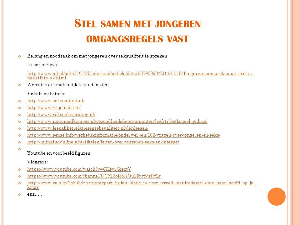 Belang en noodzaak om met jongeren over seksualiteit te spreken In het nieuws: http://www.ad.nl/ad/nl/1012/Nederland/article/detail/3793090/2014/11/18