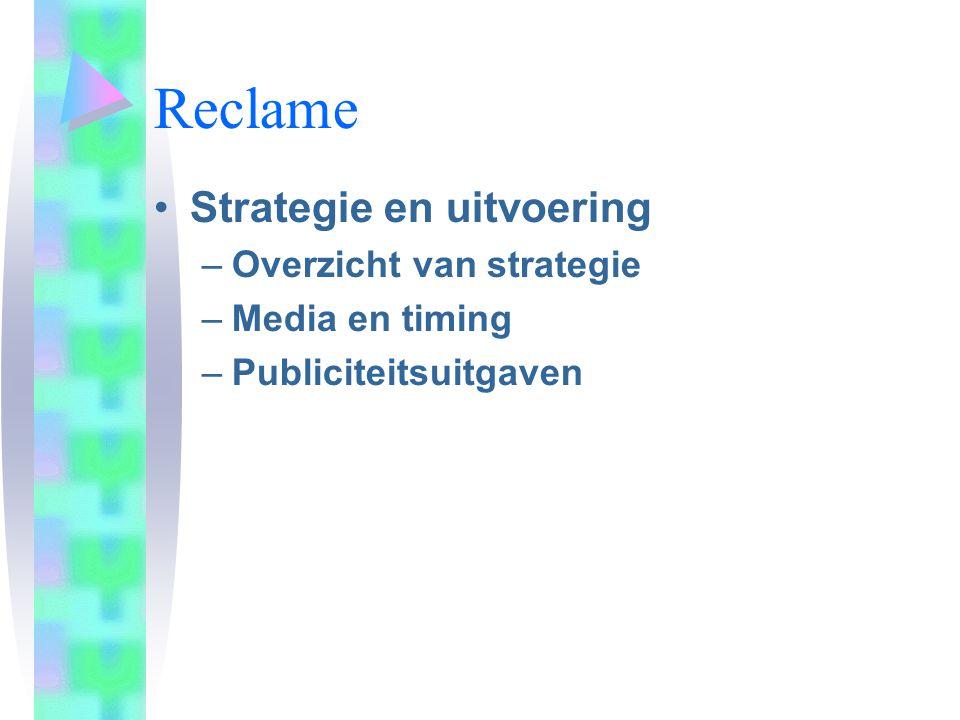 Reclame Strategie en uitvoering –Overzicht van strategie –Media en timing –Publiciteitsuitgaven