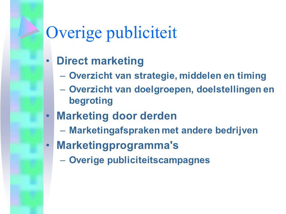 Overige publiciteit Direct marketing –Overzicht van strategie, middelen en timing –Overzicht van doelgroepen, doelstellingen en begroting Marketing do