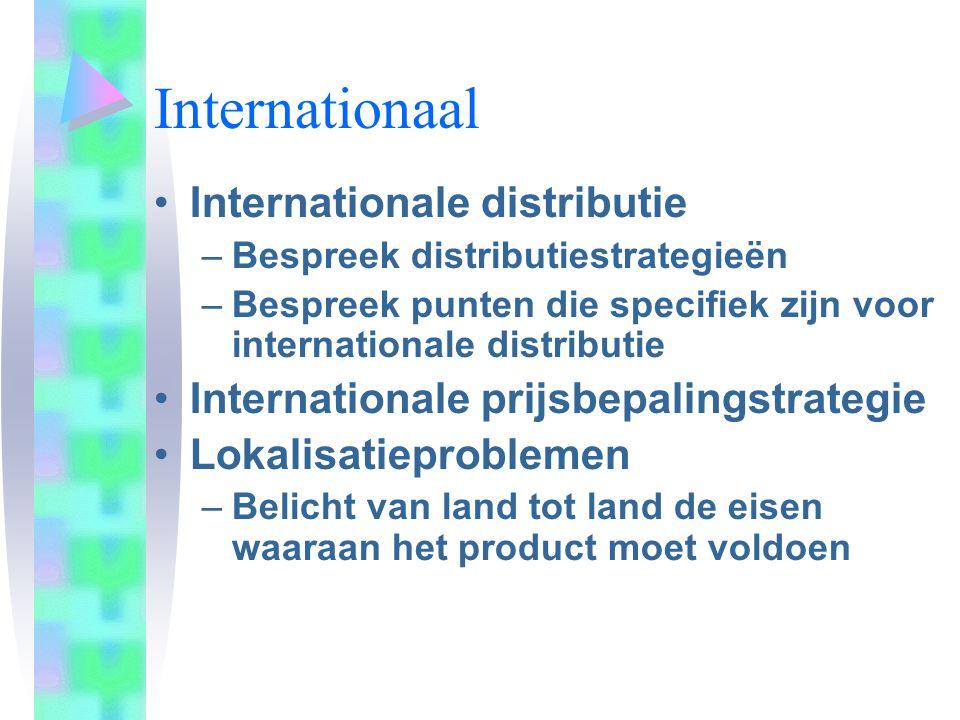 Internationaal Internationale distributie –Bespreek distributiestrategieën –Bespreek punten die specifiek zijn voor internationale distributie Interna