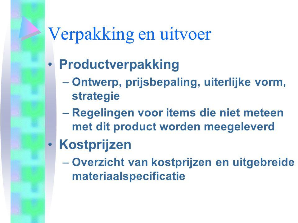 Verpakking en uitvoer Productverpakking –Ontwerp, prijsbepaling, uiterlijke vorm, strategie –Regelingen voor items die niet meteen met dit product wor