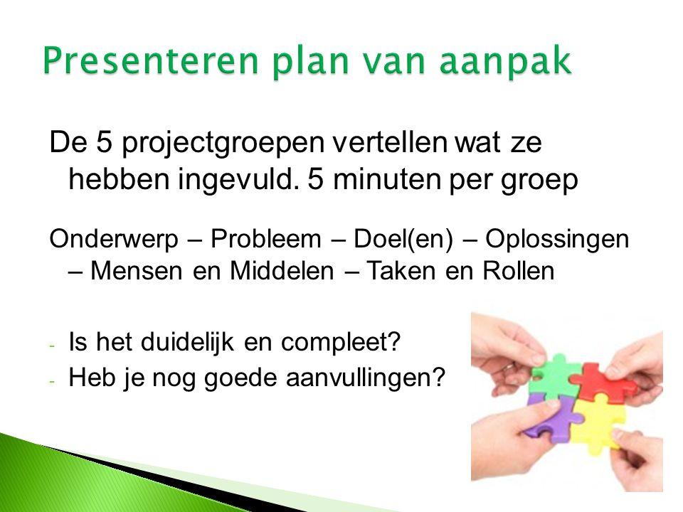 De 5 projectgroepen vertellen wat ze hebben ingevuld. 5 minuten per groep Onderwerp – Probleem – Doel(en) – Oplossingen – Mensen en Middelen – Taken e