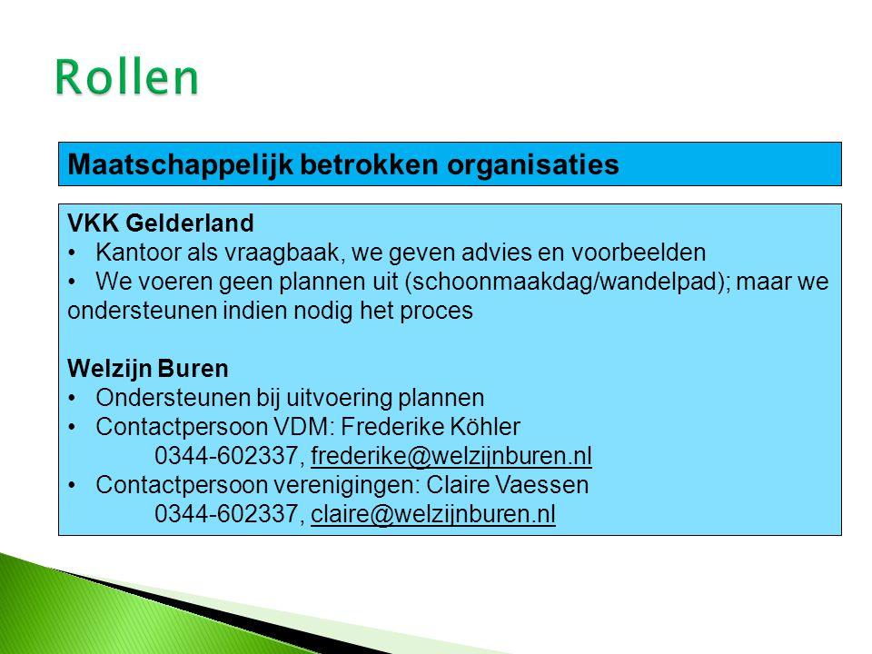 VKK Gelderland Kantoor als vraagbaak, we geven advies en voorbeelden We voeren geen plannen uit (schoonmaakdag/wandelpad); maar we ondersteunen indien nodig het proces Welzijn Buren Ondersteunen bij uitvoering plannen Contactpersoon VDM: Frederike Köhler 0344-602337, frederike@welzijnburen.nl Contactpersoon verenigingen: Claire Vaessen 0344-602337, claire@welzijnburen.nl Maatschappelijk betrokken organisaties