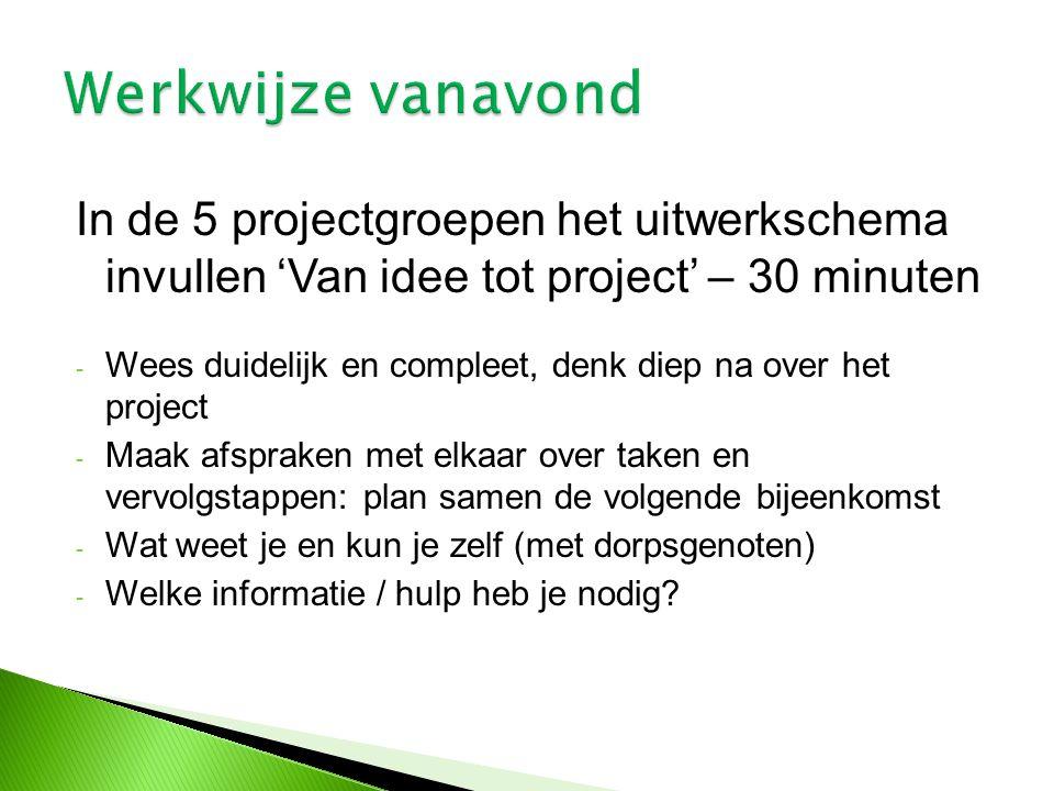 In de 5 projectgroepen het uitwerkschema invullen 'Van idee tot project' – 30 minuten - Wees duidelijk en compleet, denk diep na over het project - Ma