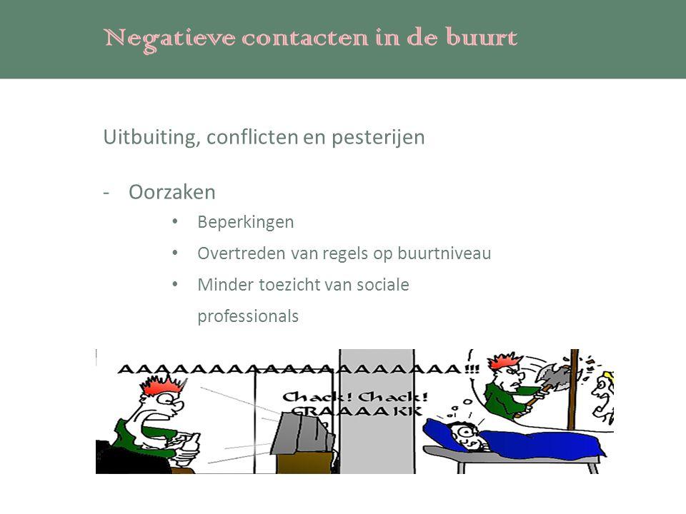 Negatieve contacten in de buurt Uitbuiting, conflicten en pesterijen -Oorzaken Beperkingen Overtreden van regels op buurtniveau Minder toezicht van sociale professionals