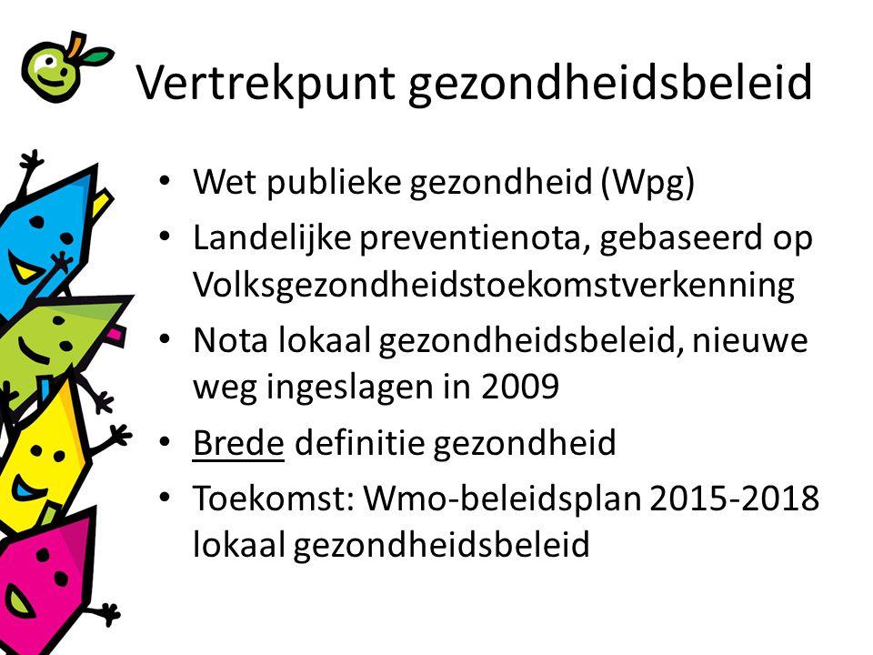 Vertrekpunt gezondheidsbeleid Wet publieke gezondheid (Wpg) Landelijke preventienota, gebaseerd op Volksgezondheidstoekomstverkenning Nota lokaal gezondheidsbeleid, nieuwe weg ingeslagen in 2009 Brede definitie gezondheid Toekomst: Wmo-beleidsplan 2015-2018 lokaal gezondheidsbeleid