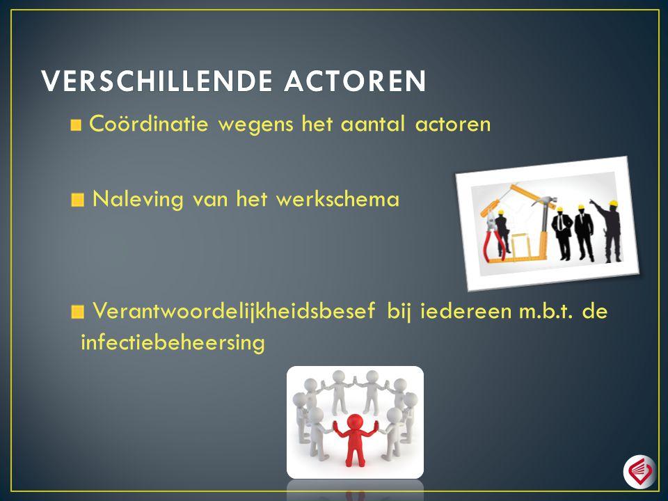 Coördinatie wegens het aantal actoren Naleving van het werkschema Verantwoordelijkheidsbesef bij iedereen m.b.t. de infectiebeheersing