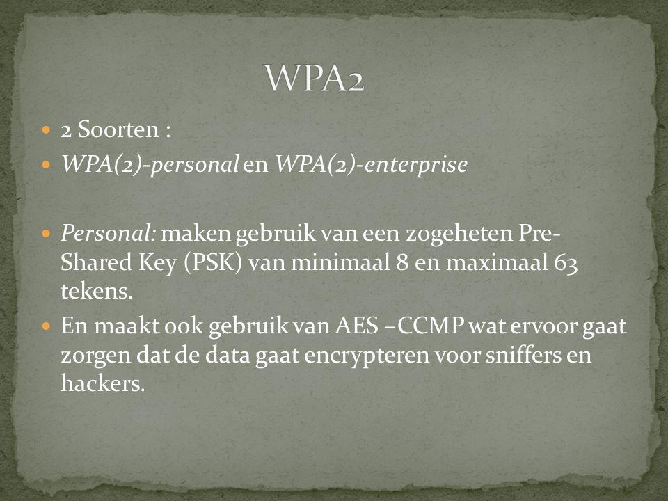 2 Soorten : WPA(2)-personal en WPA(2)-enterprise Personal: maken gebruik van een zogeheten Pre- Shared Key (PSK) van minimaal 8 en maximaal 63 tekens.